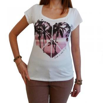 PALM HEART :WOMEN'S T-SHIRT SHORT-SLEEVE TOP CELEBRITY ONE IN THE CITY 7015271